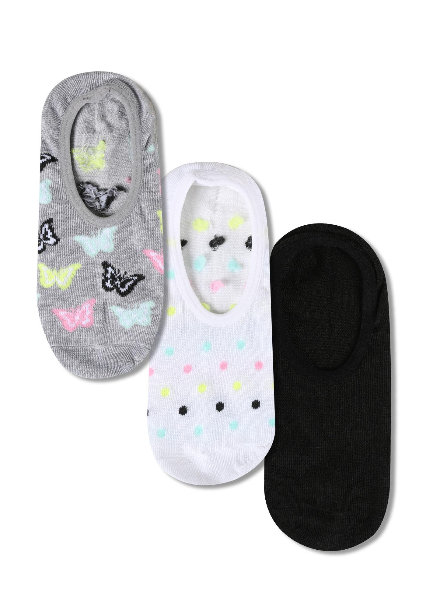 Women's 3 Pair Butterfly Sneaker Socks