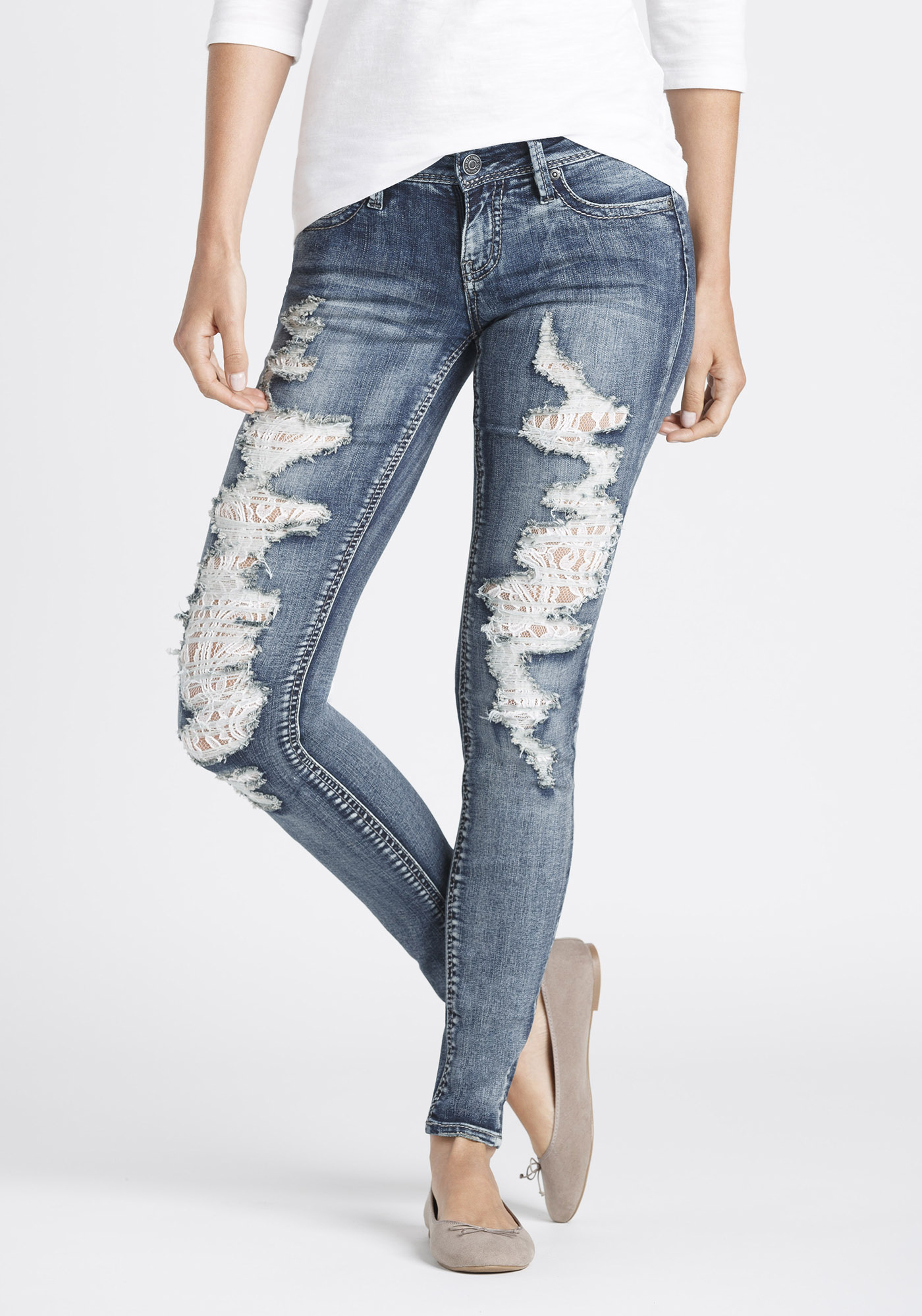 Womens Mid Rise Skinny Jeans   Warehouse One