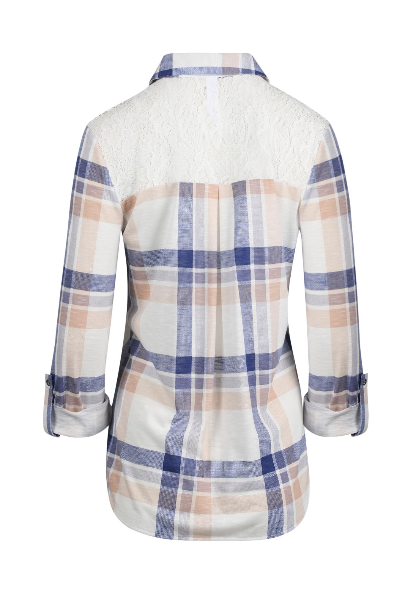 8d33c1a3 ... Womens Lace Trim Knit Plaid Shirt, IVORY/LAVENDER, hi-res