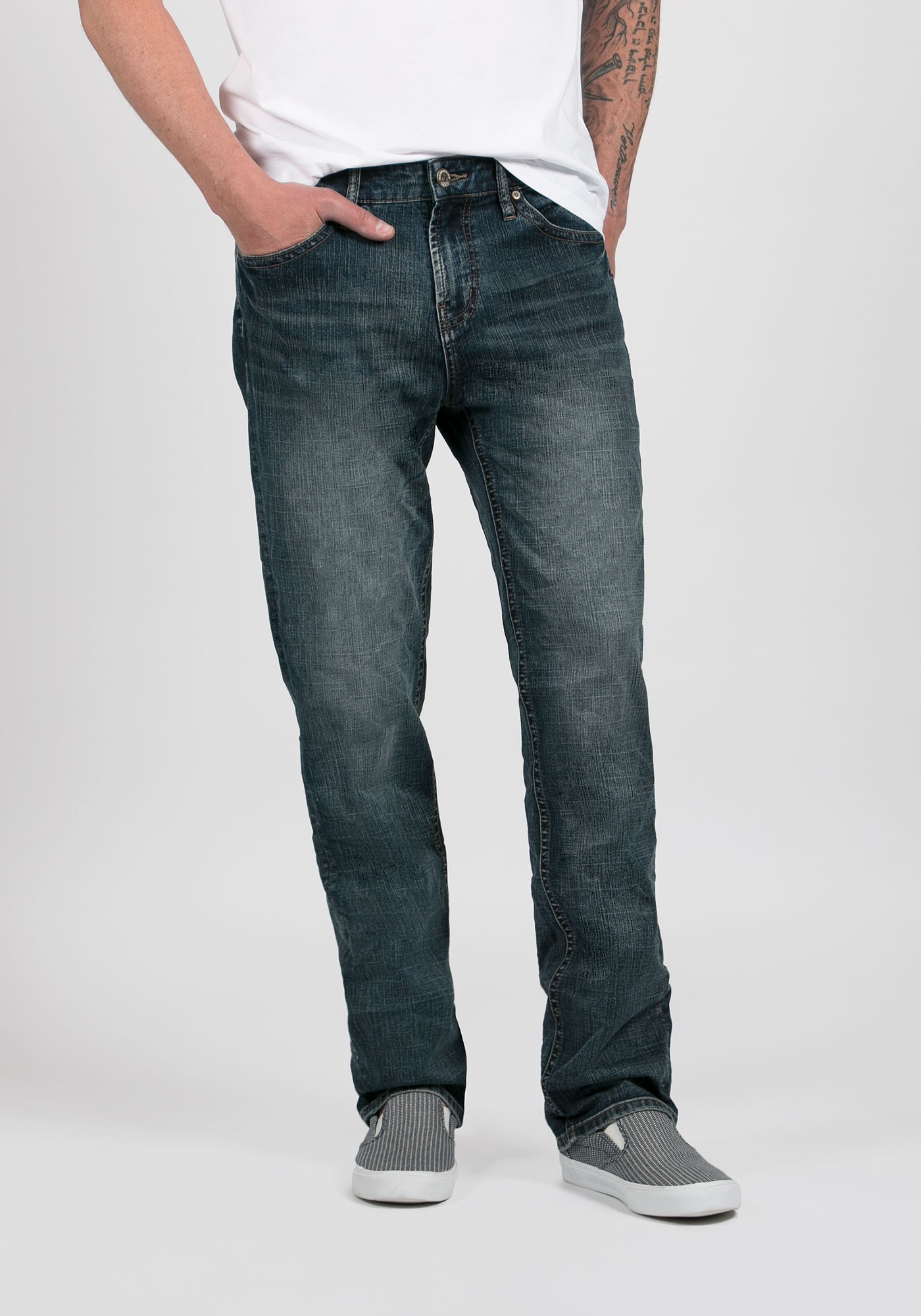 Men's Slim Straight Jeans, MEDIUM WASH, hi-res