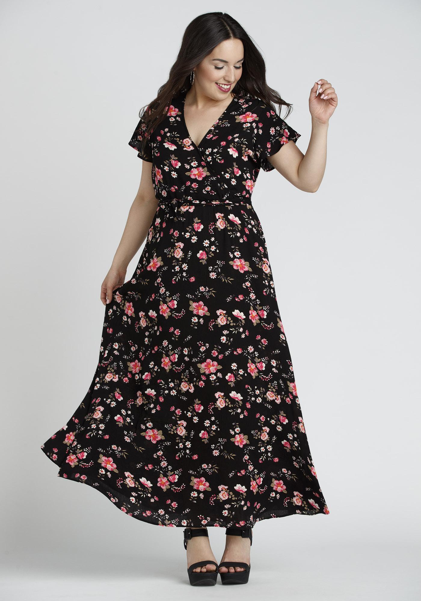 ... Womens Floral Wrap Maxi Dress 137f9fe3f5