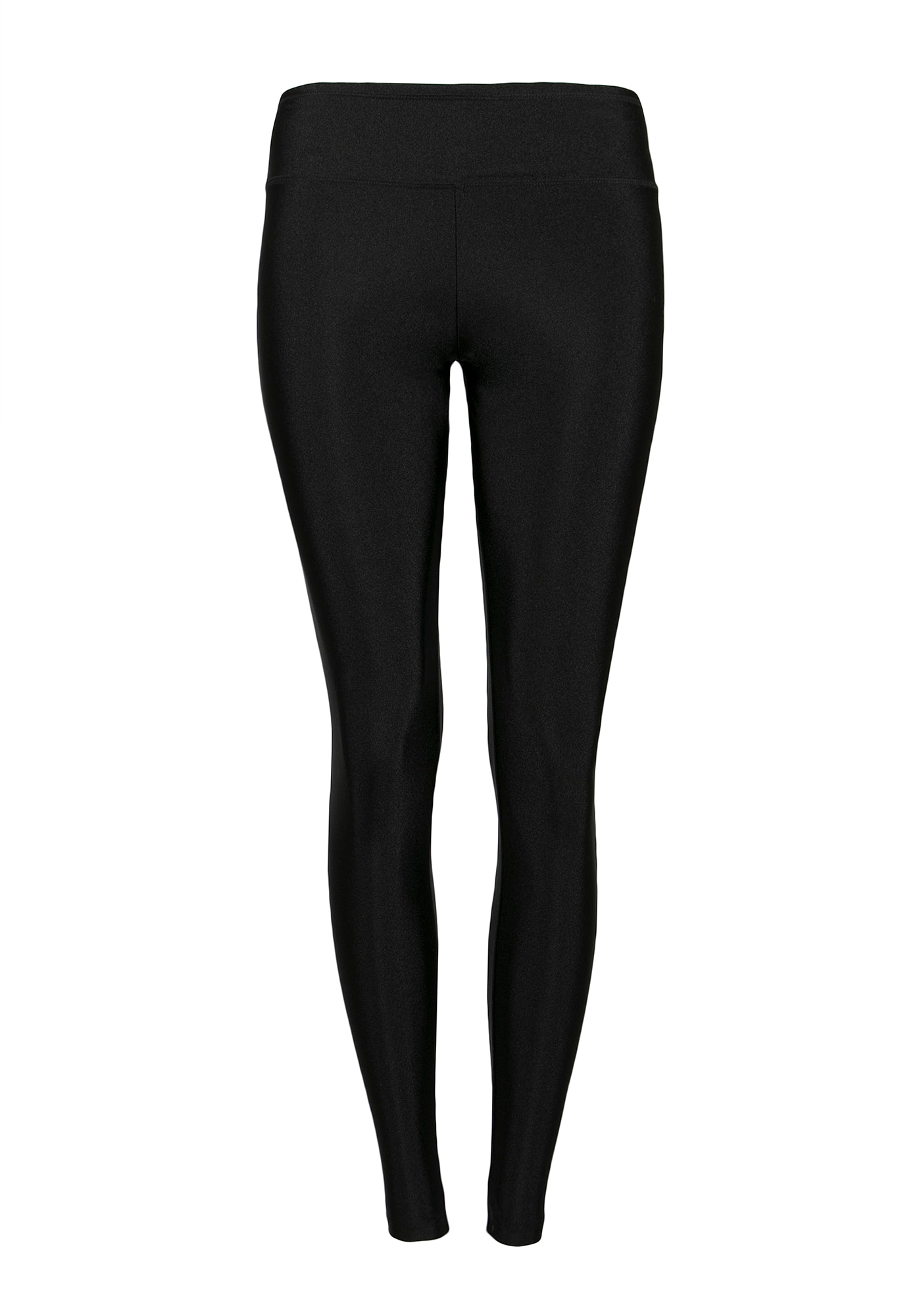 Ladies' High Waist Shiny Legging, BLACK, hi-res