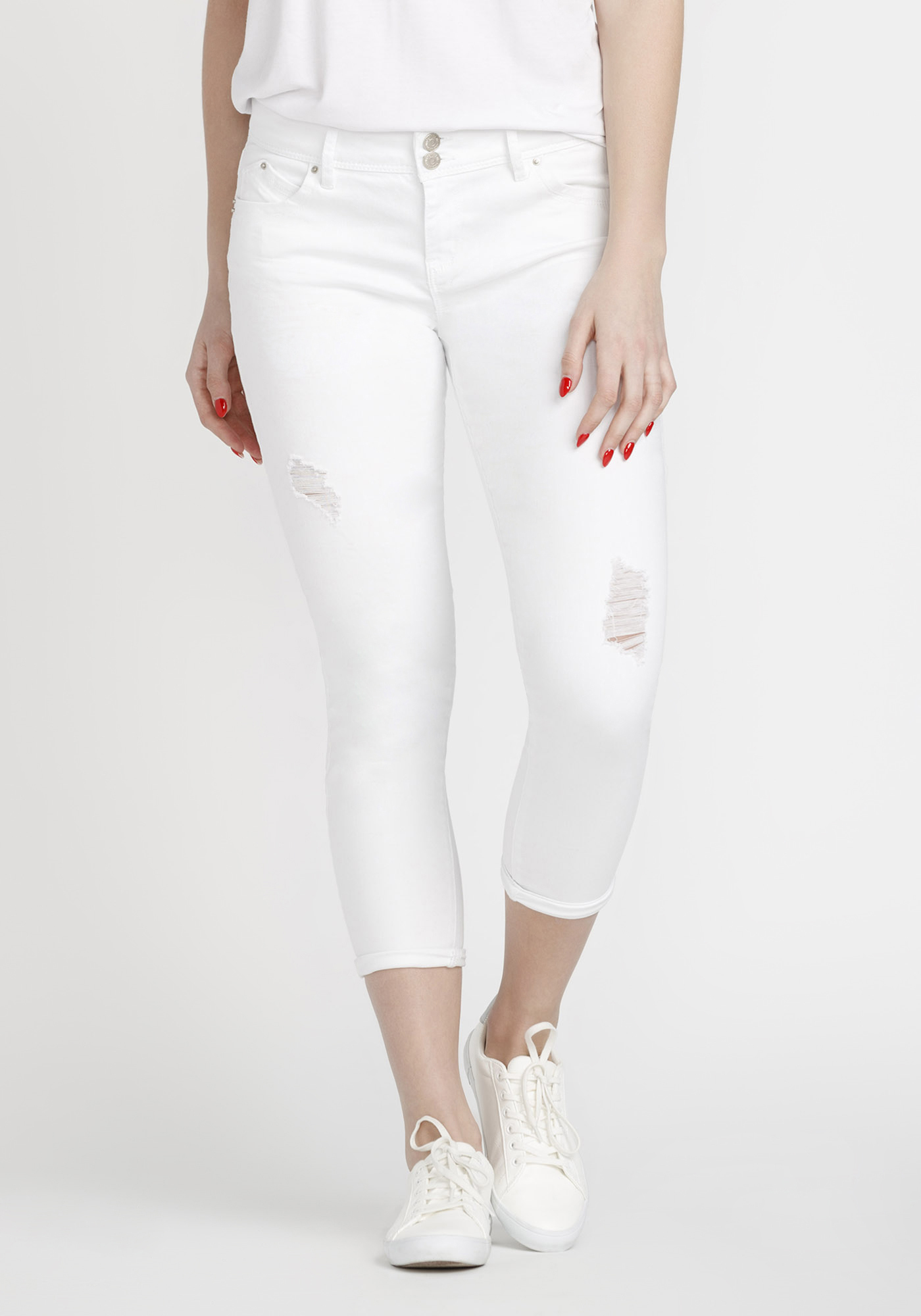 Women's Distressed Skinny Crop, WHITE, hi-res