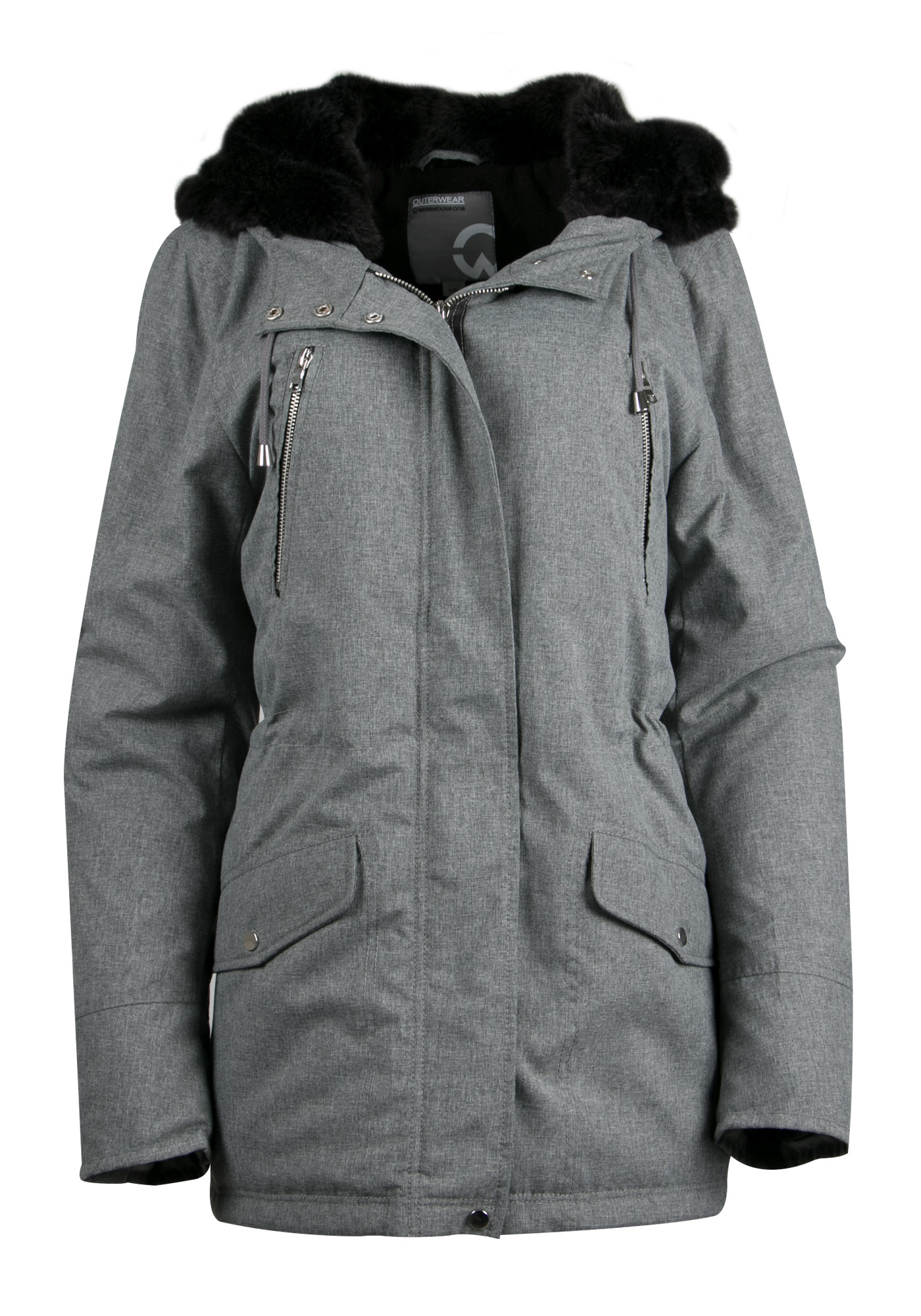 Ladies' Plush Lined Hooded Parka, GREY, hi-res
