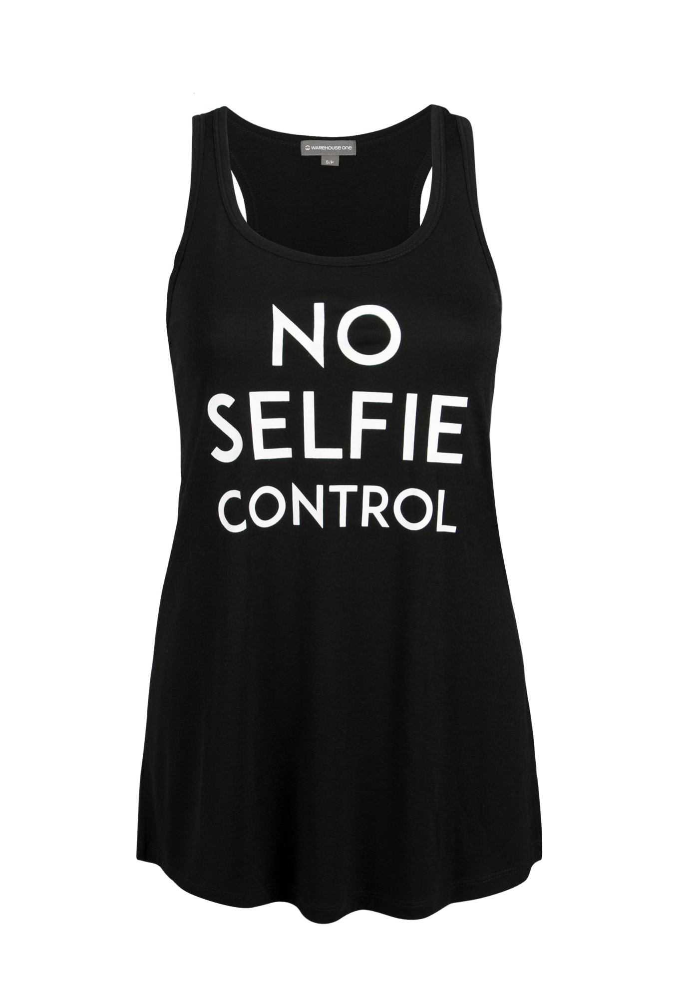 Ladies' No Selfie Control Tank, BLACK, hi-res