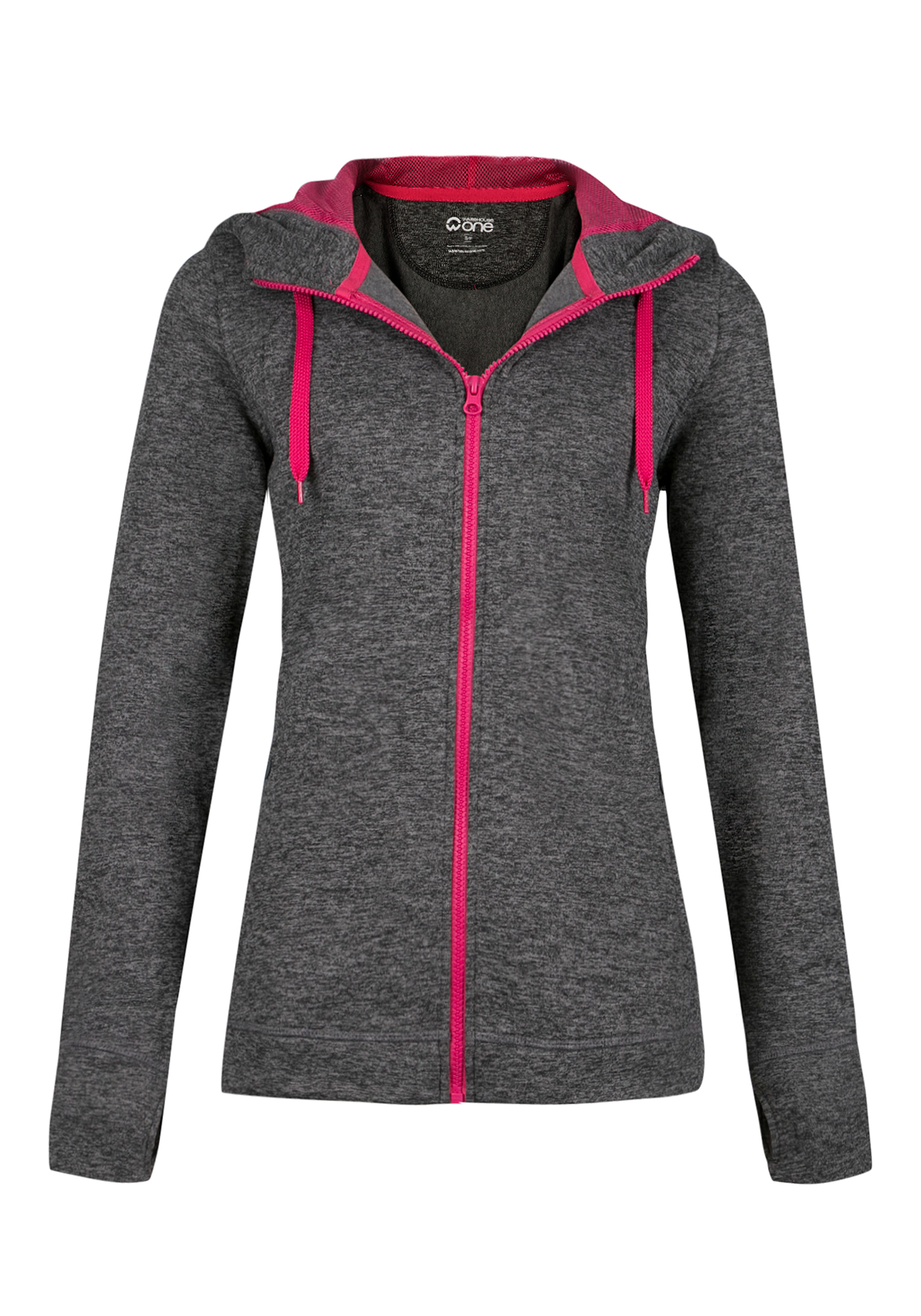 Ladies' Contrast Trim Hoodie, CHARCOAL/ PINK, hi-res