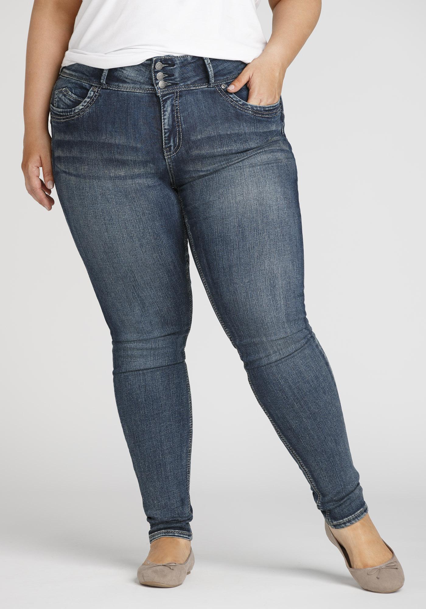 d913da2e7f61f Women's Plus Size Stacked Button Skinny Jeans, MEDIUM WASH, hi-res