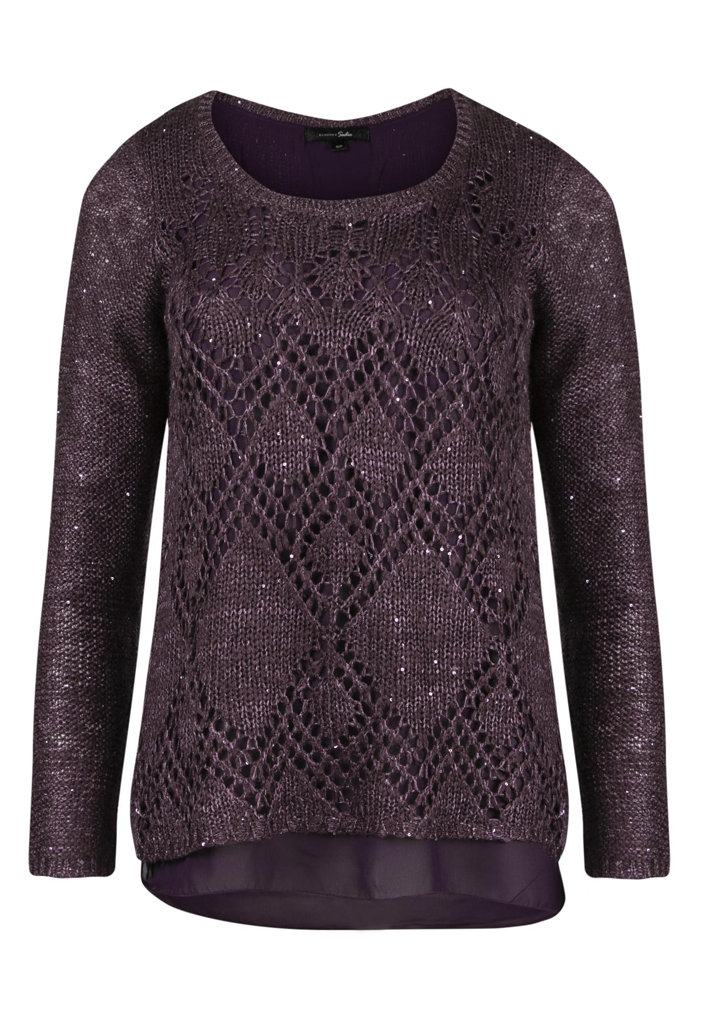 Womens Chiffon Back Shimmer Sweater
