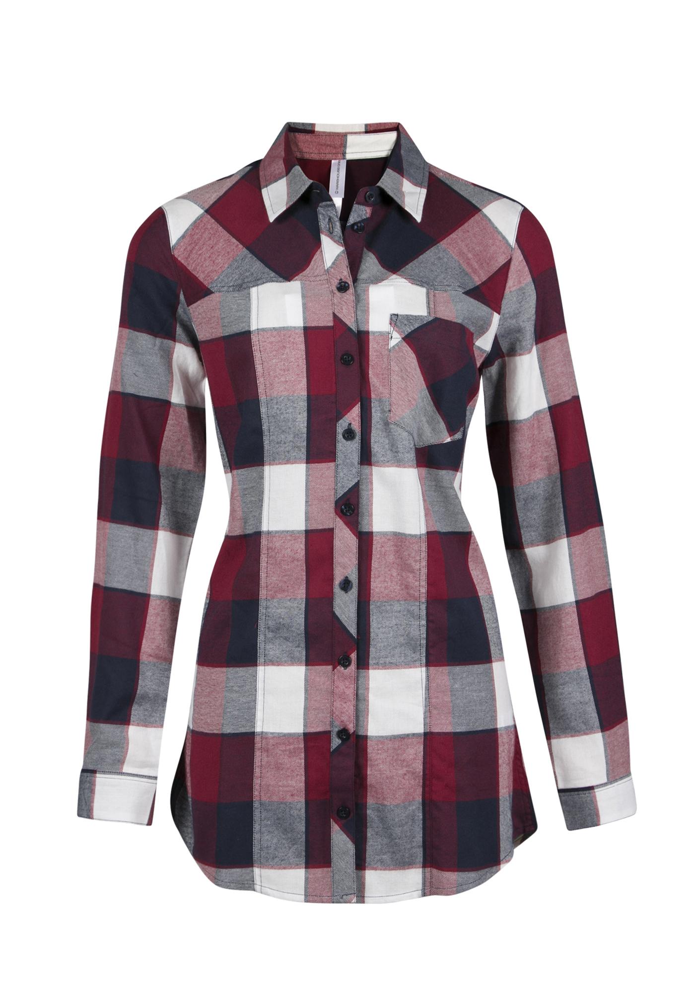 Ladies 39 flannel plaid tunic shirt for Flannel plaid shirts for women