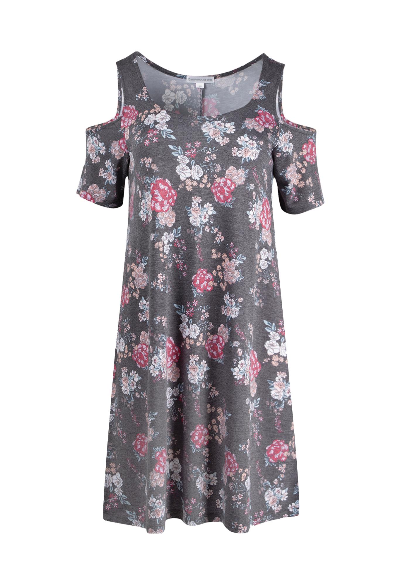 b737c579346cc Ladies  Floral Cold Shoulder Dress
