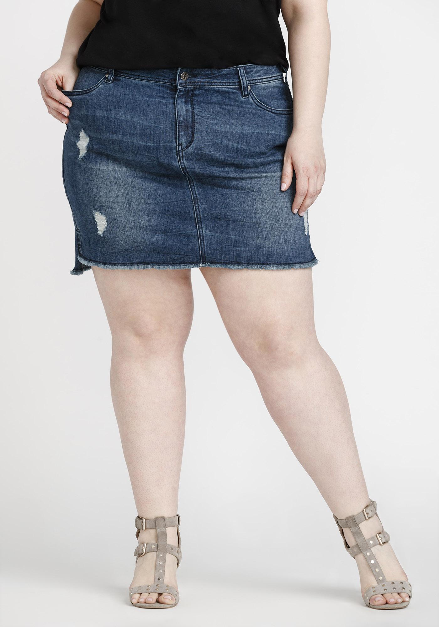b8b6aef174 Women's Plus Size Step Hem Denim Skirt, DARK WASH, hi-res