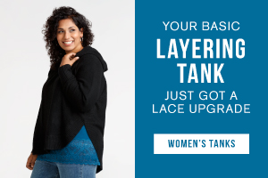 Your basic layering tank just got a lace upgrade. Shop women's tanks.