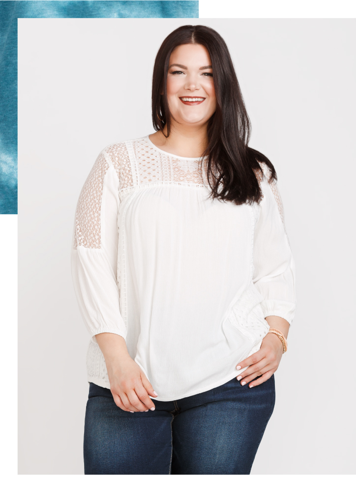 Melissa Smiling With Women's Lace Trim Peasant Top