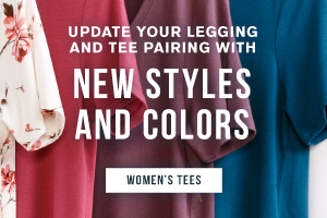Update your legging and tee pairing with new styles and colors. Shop women's tees.