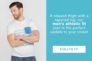 A relaxed thigh with a tapered leg, our men's athletic fit jean is the perfect update to your closet. Shop the athletic fit.