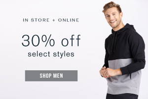 In store + online. 30% off select styles. Shop men.