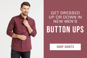 Get dressed up or down in new men's button ups. Shop shirts.