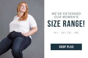 We've extended our women's size range! 14+ - 24+. XL - 4XL. Shop our plus collection.
