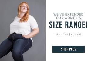 We've extended our women's size range! 14+ - 24+. XL - 4XL. Shop our plus collection.