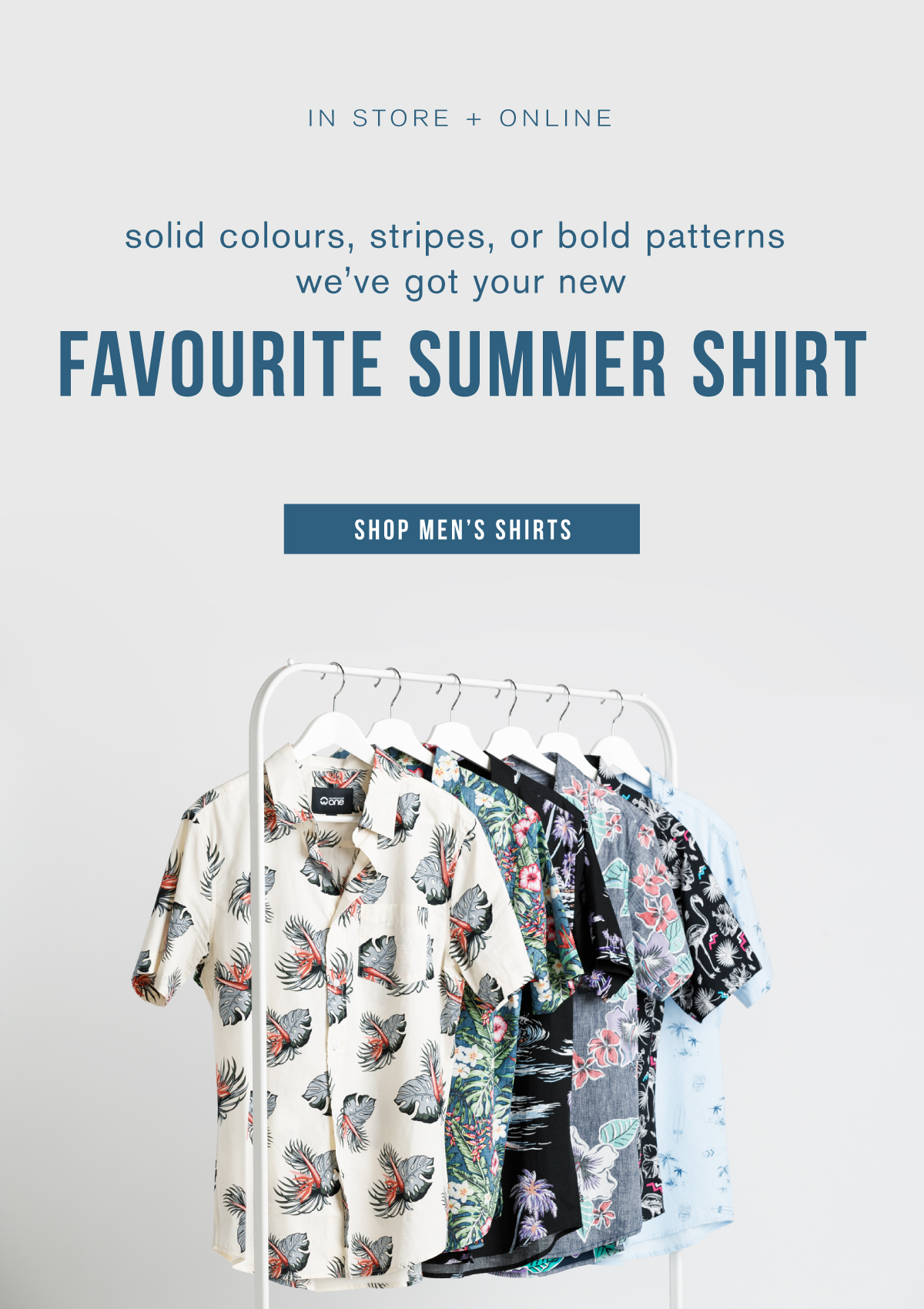 In store and online. Solid colours, stripes, or bold patterns. We've got your new favourite summer shirt. Shop men's shirts.